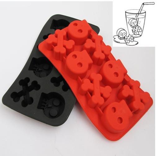 wholesale- free shipping 2pcs/lot 1 pc Skull +1 pc gun shaped Ice Freeze Drink Jelly Mold Cube tray case(China (Mainland))
