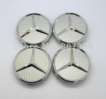 Excellent 4 pcs Silver Carbon Fiber Wheel Center Hub Caps Cover car sticker Emblem Badge for MERCEDES Benz C E S CL ML SL 75mm