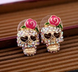 Min.order is $10 (mix order) Fashion Jewelry New Skull Imitation Diamond Earring HOT EP-0099(China (Mainland))