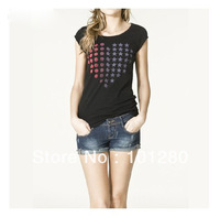 FREE SHIPPING women's tops 2013 new fashion heart dot matrix heart pattern print black women's t-shirts T541