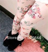 New Fashion Knitting K110 2014 spring leggings for women print rose price drop skinny pants wholesale and retail FREE SHIPPING