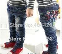 168# free shipment autumn winter style letter colorful jeans pants 5pcs/lot  wholesales