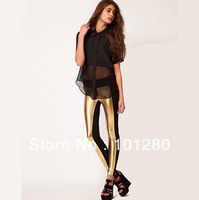 free shipping High-elastic gold PU black knitted patchwork contrast color legging l404