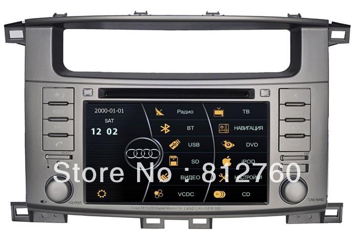 "7"" Car DVD Player for Toyota Land Cruiser/ Landcruiser 100 with GPS Navigation,Bluetooth,TV,V-CDC,RDS,3G USB Host, Free shipping(China (Mainland))"