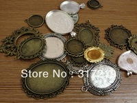 Free shipping~100Gram Mix Design~antique Bronze/Silver pendant blank,alloy base setting flower cabochon resin cameo,Glass tray