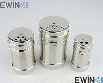 New Stainless steel Spice shaker Pepper Salt Bottles Condiment Jar Container Castor Seasoning Shelf  Free shipping 240pcs