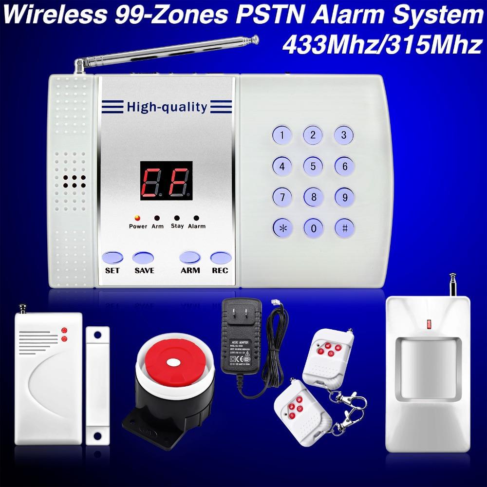 Wireless PSTN Burglar 99-Zone Autodial Home Security Alarm System DIY telephone line 433MHz/315MHz ,50PCS,DHL(China (Mainland))