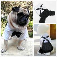 Dog TUXEDO pet gentleman wedding party clothes pug bridegroom jumpsuits XS to XL
