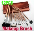 Free Shipping + Drop Shipping 2013 Christmas gift 12pcs professional makeup brush set Kit with Brown Bag Case 1set/lot