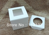 Hot!9*9*9cm pvc window cake box with insert,Party Cupcake Boxes