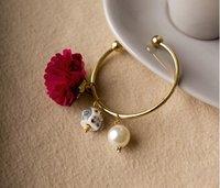 Fashion Korea Jewelry Asuka Show Rose Flower White Pearl Owl Gold Bracelet Half Open Cuff Bracelet Bangles