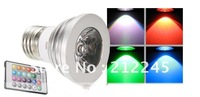 Shop Parcel FREE SHIPPING E27 3W 1-LED Multi-Colored RGB Light Bulb w/ Remote Control (85V-265V)