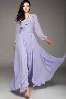 SD77 2012 New high quality  long sleeve  slik chiffon maxi dress full linning Plus size drop shipping support