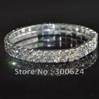 Free Shipping Fashion Silver Two Rows Clear Crystal Bracelets Rhinestone Braclet bangle