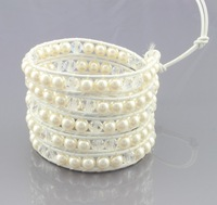 New Arrival vintage Style weaving leather 5 wrap bracelet african jewelry pearl bead bracelet,adjusted size Free Shipping CL70