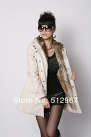 Free Shipping Faux fur lining women's winter warm long fur coat jacket clothes wholesale
