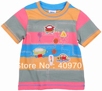 FREE SHIPPING  CA2112# appliqued and printed traffic carsBaby boy summer stripe t shrit