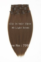 Best Seller  synthetic hair clips Kanekalon high temperature fiber 10pcs 170g 1set 22 24 inch #8 Light Brown