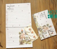 Exquisite Cartoon Castle Envelope+ Writing paper +Bookmark Suit Free Shipping.