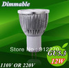 5X High power Dimmable GU5.3/MR16 4x3W 12W AC85~265V 110V 220V Rotundity LED Lamp LED Light Bulb Downlight light bulb..