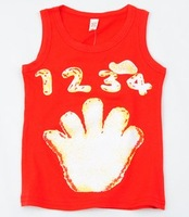 Lovely Handprint Summer children's clothing Boy's/baby girl Vest I-section vest pure cotton Excellent Cotton Casual Kid garment