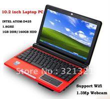 Free Shipping – 10inch Laptop PC Notebook OS Windows XP RJ45 WIFI Camera CPU INTEL ATOM D425 1.8GHZ 1GB Memory HDD 160GB