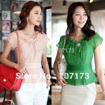 On Sale Women's Summer Slim Women's Blouse Ruffle Top Short-sleeve Sweet Chiffon Shirt Blusas Femininas