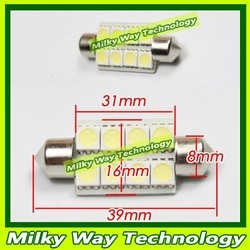 39mm 8SMD High Power Licence Plate Light Auto Car Festoon LED Interior Dome Roof Reading Light 12V 10pcs free shipping#LX06025(China (Mainland))
