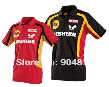 free shipping 2012 NEW Butterfly Man/s Badminton / Tennis YY6608  Table Tennis shirt  Red/BLACK