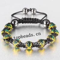 New arrival Jamaican Flag Shamballa Bracelet Pave Crystal Clay  Ball Beads, Jamaican Bracelet