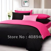 120218 Fedex free shipping! 4pcs duvet cover/bed linen 100% Sateen cotton black + rose red color luxury bedding set /