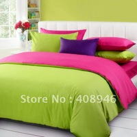 120214 Fedex free shipping! 100%  cotton hot Rose red +green color luxury bedding set / 4pcs duvet cover/bed linen