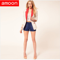 Amoon / Women Spring Autumn Fashion Slim Patchwork Jackets /New Arrivals /Free Shipping /3 Size /2 Colors /Cotton /Full Sleeve