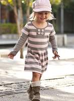 Free shipping 5sets/lot fashion baby girl pink striped long sleeve dress for autumn popular clothing set kids wear wholesale