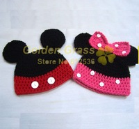 Free shipping!5pcs/lots,Mickey Mouse,Handmade Crochet Baby 100% Cotton Yarn Hat/Cap,Knit Winter Beanie,Santa/christmas