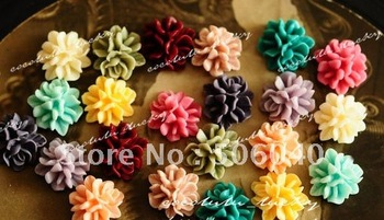 15 mm 15 Colors Resin Flower Cabochon for Jewelry/Mobilephone Decoration Wholesale 100pcs/lot