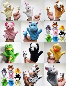 Free ship! 10pcs/Lot Mini baby hand puppet cheap kid/child animal plush soft toy infant educational promotion gift props/doll