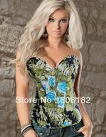 New Women shaper  Satin  Corset(overbust)  Sexy Lingerie  green 3256