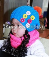Wholesale children sleeve cap hat wig Bow Hat wool hat