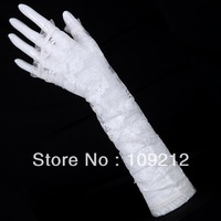 Free Shipping 1pcs/lot GK White Lace Evening Party Prom Bridal Wedding Fingerless Gloves CL3123