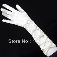 "Free Shipping 1pcs/lot GK 14"" White Evening Party Prom Wedding Fingered Brides Gloves CL3127"