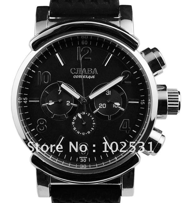 Fast Shipping Fashion Luxury Cjiaba Black Dial Men's Style Mechanical Slava Watch Weekday Date Day Water Resistant Gift(China (Mainland))