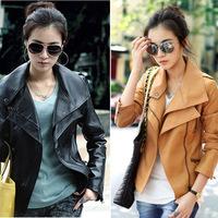[Cerlony] New Fashion Women Black PU Desigual High Street Plus Size Pattern Motorcycle Biker Coat Outerwear Leather Jacket PU01