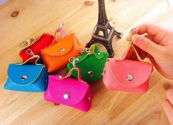Free ship hot sale mini style faux  Leather Coins purse / changes purse / keys purse , pvc box , 6 colors  magnetic buckle