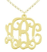 Gold plated Over Sterling Silver Monogram Necklace name necklace personalized jewelry