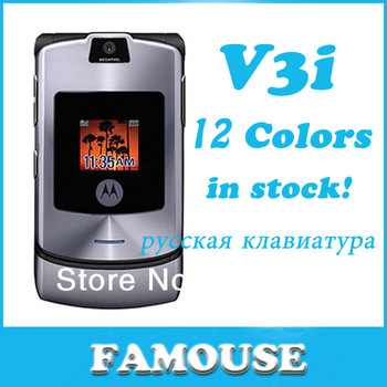 Free shipping V3i unlocked original RAZR mobile phones Russian keyboard or English keyboard support Dropshipping