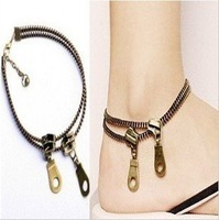 Free shipping wholesale 2012 New Design,C03314 double zipper Anklets, retro/punk/women and lovers anklets,fashion,best gift!