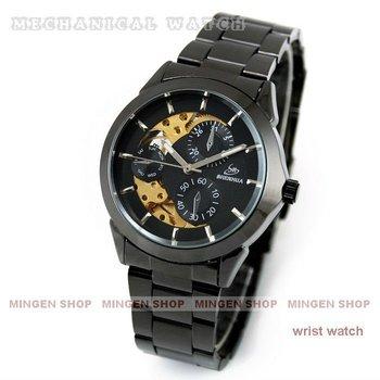 MINGEN SHOP - Fashion Timepiece steel strap Titanium Black Golden Automatic Skeleton Mechanical Men Watch U0002
