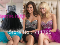 Free Shipping Real Sample Bead Purple Rhinestone Crystal Short Cocktail Dress Party Homecoming Dresses Mini Pageant Gowns 2014