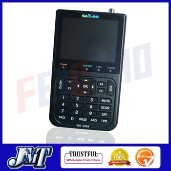 "Wholesale F01940-A Satlink WS-6906 3.5"" LCD DVB-S FTA Digital Satellite Finder Meter TV Signal Receiver WS6906 + Free shipping"